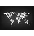 Grunge world map on black chalkboard vector image