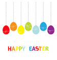 happy easter colorful text hanging rainbow color vector image vector image
