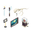 historical museum ancient exhibition objects vector image
