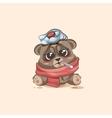 isolated Emoji character cartoon Bear sick with vector image