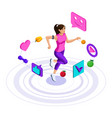 isometry girl icons a healthy lifestyle vector image vector image