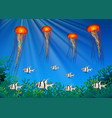 jellyfish and fish swimming under the sea vector image vector image