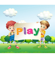 Kids holding a banner vector image vector image