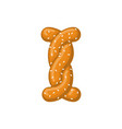 letter i pretzel snack font symbol food alphabet vector image vector image