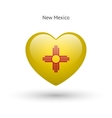 Love New Mexico state symbol Heart flag icon vector image vector image