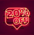 message neon 20 off text banner night sign vector image vector image