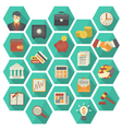 Modern Flat Financial and Business Icons Hexagon vector image vector image