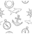 nautical elements seamless pattern hand drawn vector image vector image
