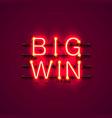 neon casino big win signboard vector image
