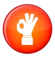 Ok gesture icon flat style vector image vector image