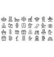 osteopathy icons set outline style vector image vector image