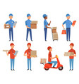 pizza courier characters fast food deliver vector image vector image