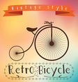 Retro bicycle on colorfull background Text in vector image
