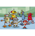 robots group cartoon vector image vector image
