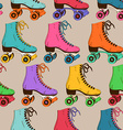 Seamless pattern with retro roller skates vector image vector image