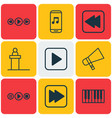 set of 9 audio icons includes piano bullhorn vector image vector image