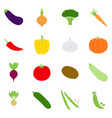 set of color vegetables icons vector image vector image