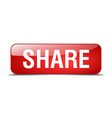 share red square 3d realistic isolated web button vector image vector image