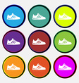 Sneakers icon sign Nine multi colored round vector image vector image