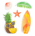 summer time icons set closeup vector image vector image