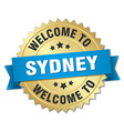 Sydney 3d gold badge with blue ribbon vector image vector image