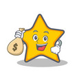 with money bag star character cartoon style vector image vector image