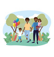 woman and man couple with their daughter and son vector image