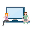 women using mobile and laptop tech vector image