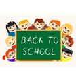 Happy boys and girls near school board vector image