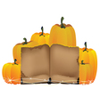 pumpkins heap and the old book vector image