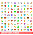 100 household icons set cartoon style vector image vector image