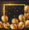 3d glossy golden balloons with frame and confetti vector image vector image