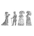 antique ladie and man victorian dame vector image
