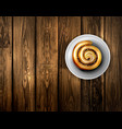 baking roll with cinnamon vector image