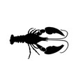black crawfish silhouette on white background vector image vector image