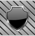 black security shield sign on metal background vector image vector image