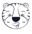 blurred silhouette cute face of tiger sticking out vector image vector image