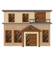 brick house with balcony on second floor vector image vector image