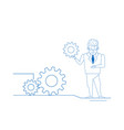 businessman twisting gear wheel working process vector image vector image