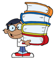 Child holding books cartoon vector image vector image