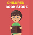 children book store banner with boy rreads vector image vector image