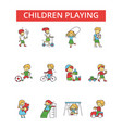 children playing thin line icons vector image vector image