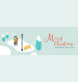 christmas banner couple walking in snow vector image vector image