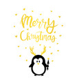 christmas card gold cute penguin vector image vector image