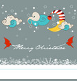 christmas night greeting card snowfall and cute vector image vector image