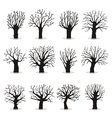 collection trees silhouettes vector image vector image
