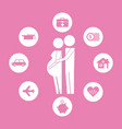 couple pregnancy hugging family protection vector image