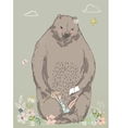 cute bear with little girl vector image vector image