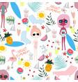 cute summer sunny day cartoon pattern vector image