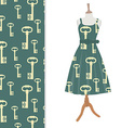 Dress and key pattern vector image